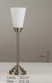 Tafellamp uplight getrapt mat nikkel met opaal mat kapje nr 353.07 + 312.39
