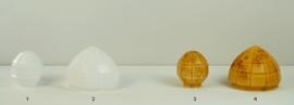 Glazen bol met ingeblazen kerven links 1 small opaal wit nr: 136.00