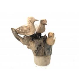 3 vogels op een boomstronk naturel hout handgemaakt h25cm nr 5929
