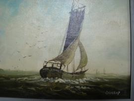 Oud schilderijtje met zeilscheepje.  VERKOCHT>