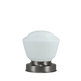 Getrapte tafellamp model blok mat nikkel met opaal kap Cook 16cm nr 7Tp1-462.00