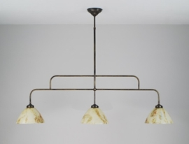 T-lamp 120cm breed oud bruin met gemarmerde calimero kappen nr 3915.02