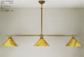 T-lamp 3-L br-140cm oud messing met gemarmerde dakkappen nr 306346.04