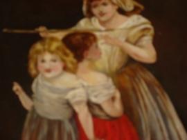 Schilderij met afbeelding van moeder meet kinderen.