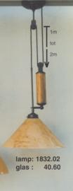 Katrollamp 1 glasstaaf marmer pendelbaar 1 tot 2 mtr midden bruin dakkap marmer 40cm nr 1832.02