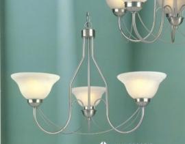 Mat nikkel hanglamp met 3 glazen kappen nr:20383/3