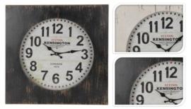 Wandklok hout 50x50 antiek WIT KENSINGTON STATION nr Y36400020w