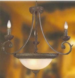 Antiek bruin gekleurde hanglamp 6-lichts nr:20331A/3+3