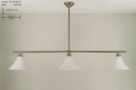 T-lamp 3-lichts br-130cm mat nikkel met opaal witte kelkkappen nr 306336.07