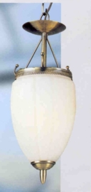 Retro hanglamp antiek messing 1-L druppelvormig glas nr:20363/1h