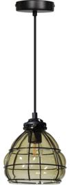 Hanglamp smokey venice kap d17cm h16,5cm zwart/glas nr 05-HL4433-3065
