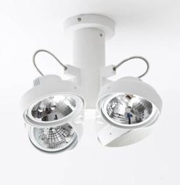 Lofar 4-lichts spot opbouw WIT op buis S met osram lichtbron 05-SP1281-31S