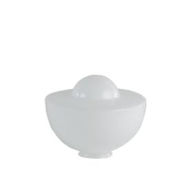 Mondgeblazen vintage glazen bol links opaal wit nr 280.00