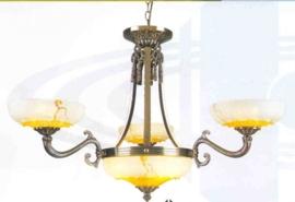 Retro hanglamp antiek messing 6-lichts nr:20368/3+3