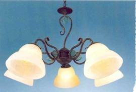 Bronskleurige hanglamp 5-lichts met goudkleurige blaadjes nr:20337/5