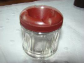 Glazen inktpot met bakelieten  deksel.