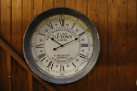 Wandklok Old Town dia-78cm stations Old finish grijs 10cm lijst nr Y36000030