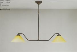 T-lamp hoek 2-L br-80cm oud bruin met mat champagne dakkap nr 908.02