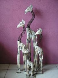 Houten giraf swing nek 80cm antiek white wash