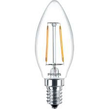 Philips Filament LED E14 kaars lamp 2W/15W 827 helder 18-574072