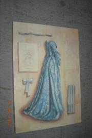 Prent met blauwe jurk