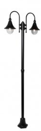 Buitenlamp mast h-248cm serie Calice II 2-lichtpunten in 2 kleuren leverbaar nr: FL702