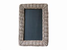 Handgevlochten lijst met krijtbord grijs natural 64x44x3cm nr 900143
