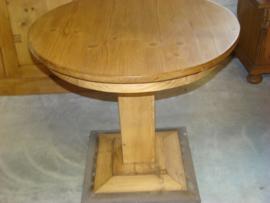 Kleine ronde tafel met rechte middenpoot.