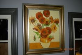 Schilderij vaas met zonnebloemen