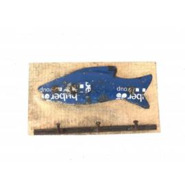 Wandhanger ruw mango hout blauwe recycled ijzer vis met 3-haken nr 5661bl