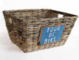 Handgevlochten open fietsmand natural 45x35x22cm nr 902028