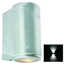 Buitenspot gevelspot Mandal 2-lichts rond gegalvaniseerd GU10 nr 501371