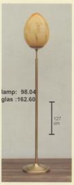 Vloerlamp h-127 oud messing klassieke voet gemarmerde kap ei nr 98.04