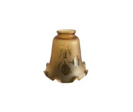 Mondgeblazen glazen klokje d12cm h11cm bloem bruin 311K.64