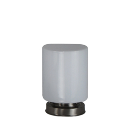 Getrapte tafellamp model blok mat nikkel met opaal kap Cillinder 15cm nr 7Tp1-1518.00