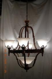 Luchter kasteelserie met schaal en kapjes 7-lichts nr:20414/6+1