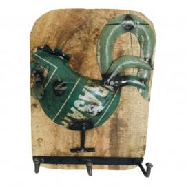 Wandhanger ruw mango hout groene recycled ijzer haan met 3-haken nr 5660
