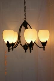 Mat zwarte hanglamp met 5 glazen bolvormige glazen nr:20302/5