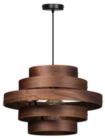 Hanglamp Showmodel walnoot houten ringen E27 5-rings d50cm nr 05-HL4452-77S