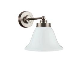 Wandlamp wand mini mat nikkel met opaal kapje model Klok 19cm nr 7WM-663.00