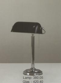 burolamp bankiersglas diep donker blauw en vaste voet chrome nr 380.05 + 420.40