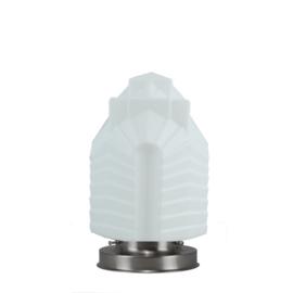 Getrapte tafellamp model blok mat nikkel met opaal kap Chrysler 21cm nr 7Tp1-490.00