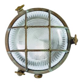 buitenlamp wand patrijspoort verkoperd messing h-12cm d-18cm nr 232014-36