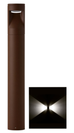 Buitenlamp mast Lako h-40cm 2 zijden licht LED 7W roestbruin nr 409.040/2-14