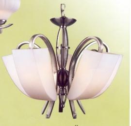 Mat nikkel hanglamp met 5 glazen kappen nr:20314/5