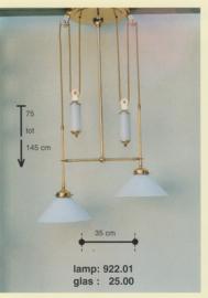 Katrollamp smal 2-lichts 2-glas staafgewichten messing gepolijst dakkap opaal 25cm nr 922.01