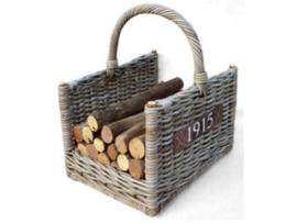 Handgevlochten houtmand met hengsel 45x35x30cm grijs naturel nr: 901520