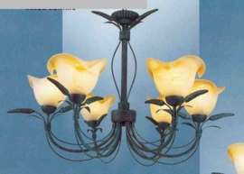 Bronskleurige hanglamp 6-lichts met gekleurde kapjes nr:20312/6