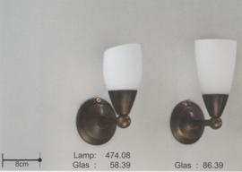 Wandlamp straler up antiek gevlekt met mat wit kapje nr 474.08