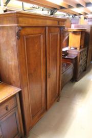 Antieke 2-deurskast noten fineer op eiken 1890-1900 h-172cm nr 10039